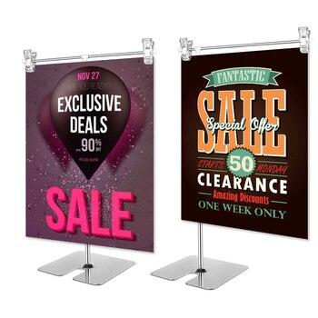 Height adjustable display stainless steel poster clip promotion sign holder sales cardboard display racks stand цена 2017