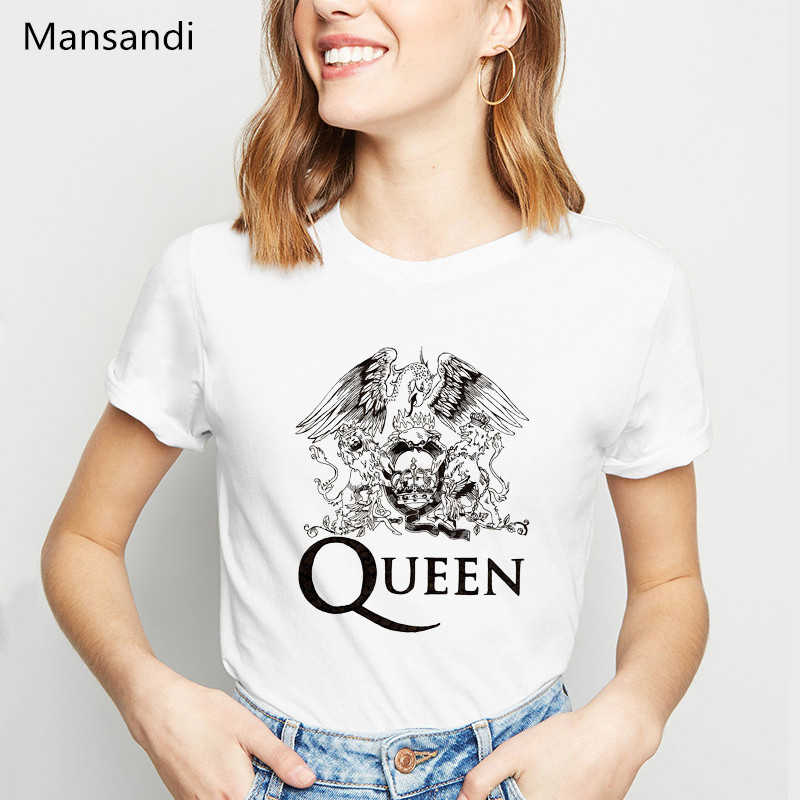 Vogue mulheres tshirt logotipo da banda rainha freddie mercury Dragão impresso camiseta femme harajuku camisa do tumblr tops t-shirt tee fêmea