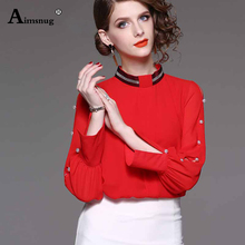 2019 Newest Vintage LOLITA Red Black White Long Sleeve Chiffon Shirt Women Stand Collar Elegant Blusas Female Gothic Blouse
