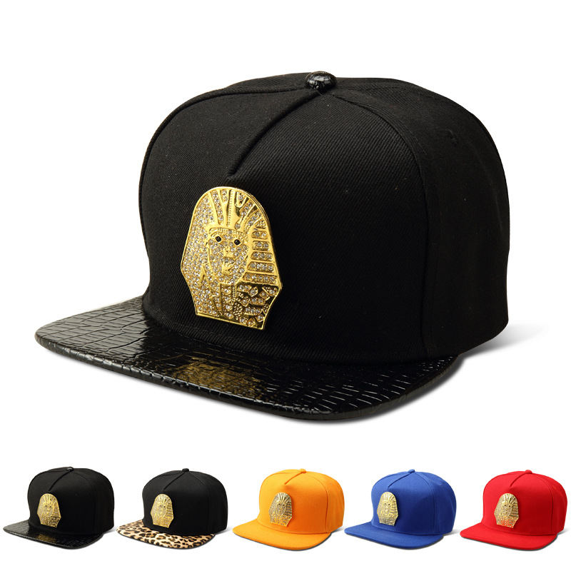 Women Men top quality Golden Rhinestone Egyptian Pharaoh Baseball Caps Last King LK hip hop hat Gorras golf sports Snapback Hats