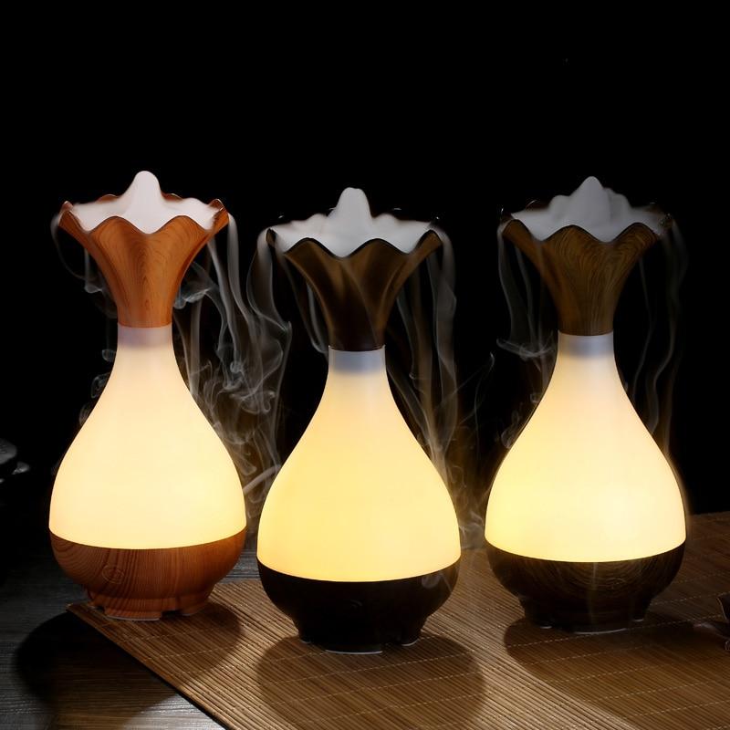 95ML Wood Grain Vase USB Air Humidifier Ultrasonic Aromatherapy Purifier Essential Oil diffuser Aroma Night Light Atomization обогреватель wwq rm02 2511f