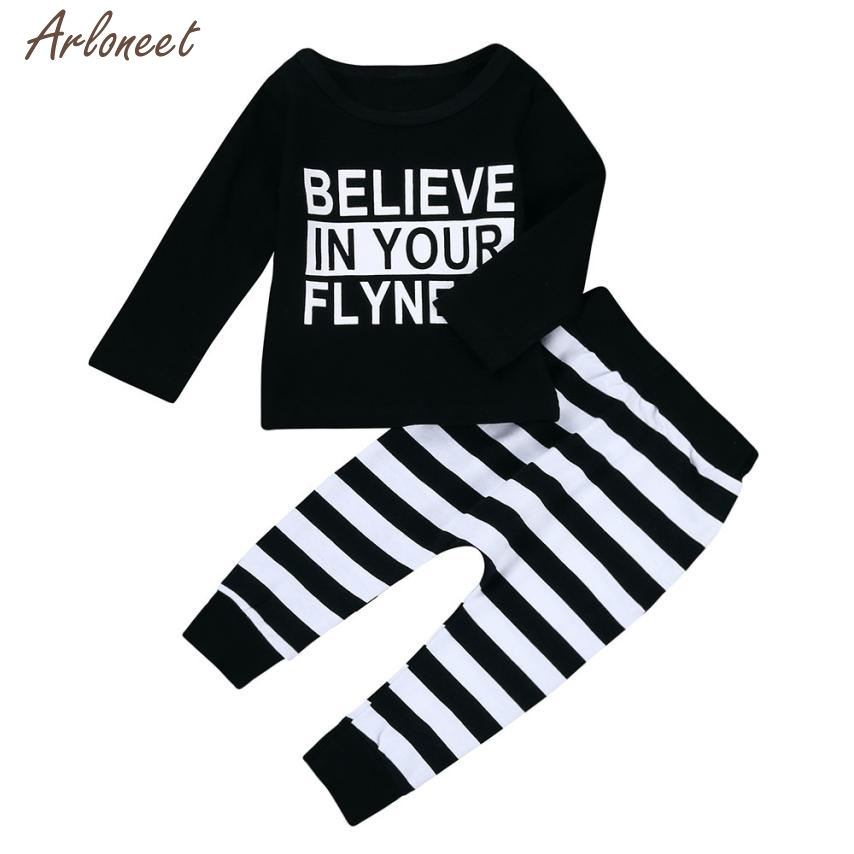 2017 Cute Newborn Infant Baby Boys Letter T-Shirt Tops+Striped Pants Outfits Set Fantasy