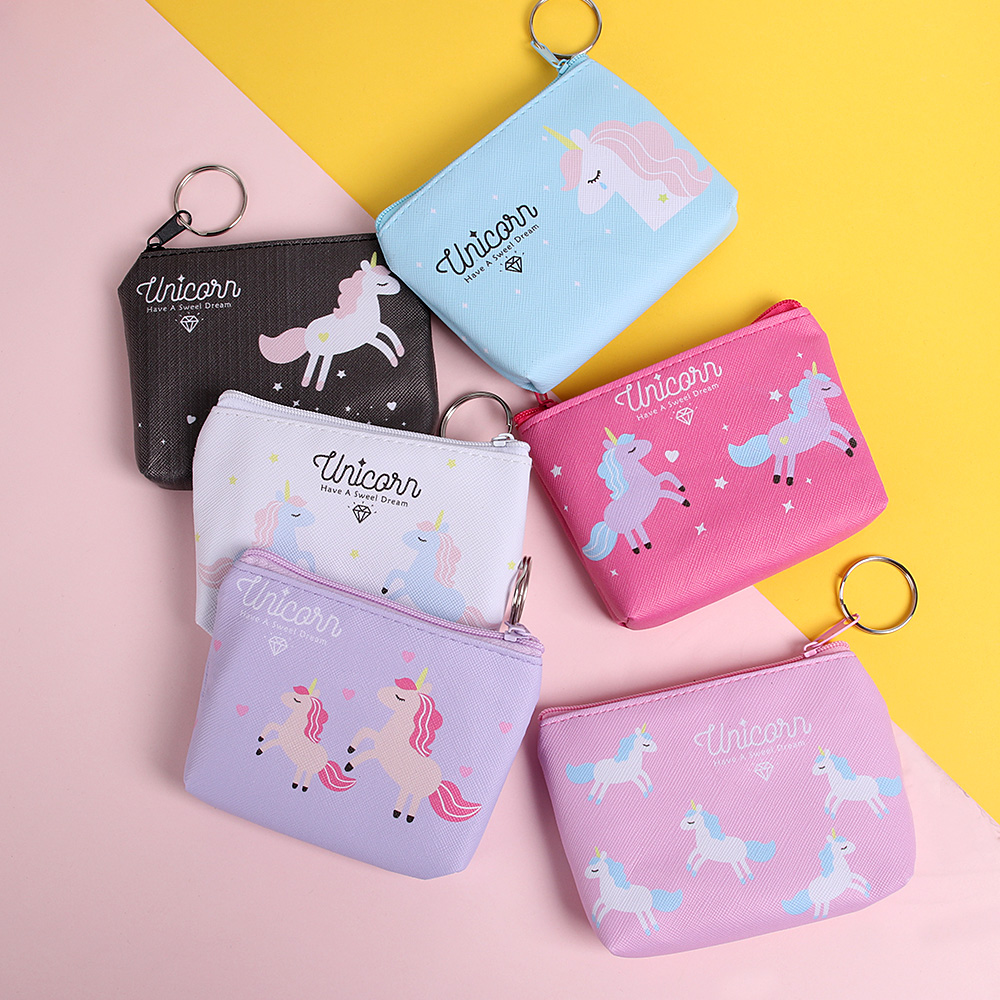 Hot Sale 1pc Fashion Cartoon Cute Unicorn Womens Coin Purse Key Pack Keychain Birthday Party Decorations Kids Baby Shower Gifts Coin Purses & Holders
