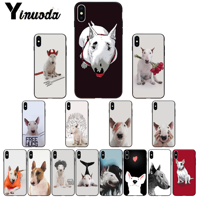 Yinuoda bullterrier bull terrier dog   Soft Rubber black Phone Case for Apple iPhone 8 7 6 6S Plus X XS MAX 5 5S SE XR Cover Собака