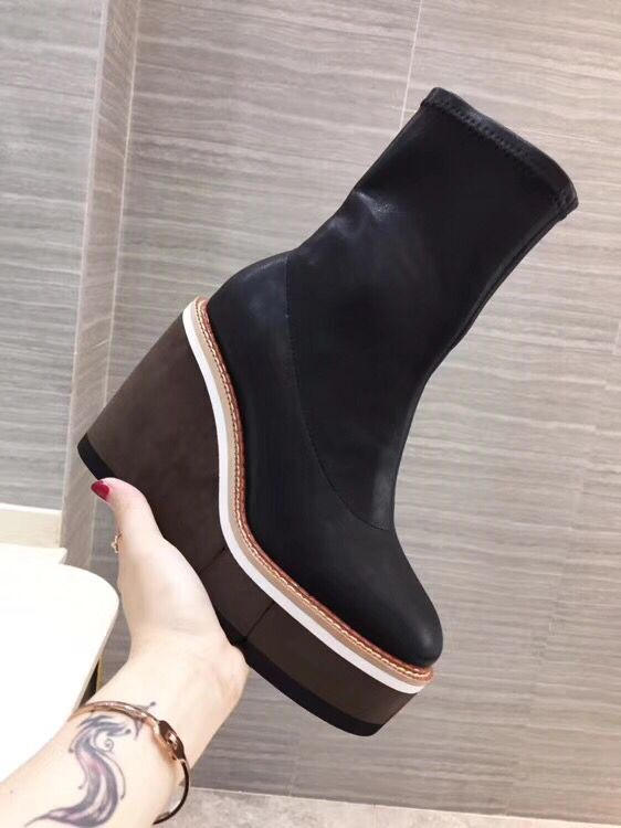 New arrival round toe platform high wedge women pumps genuine leather stretch fabric spring and autumn