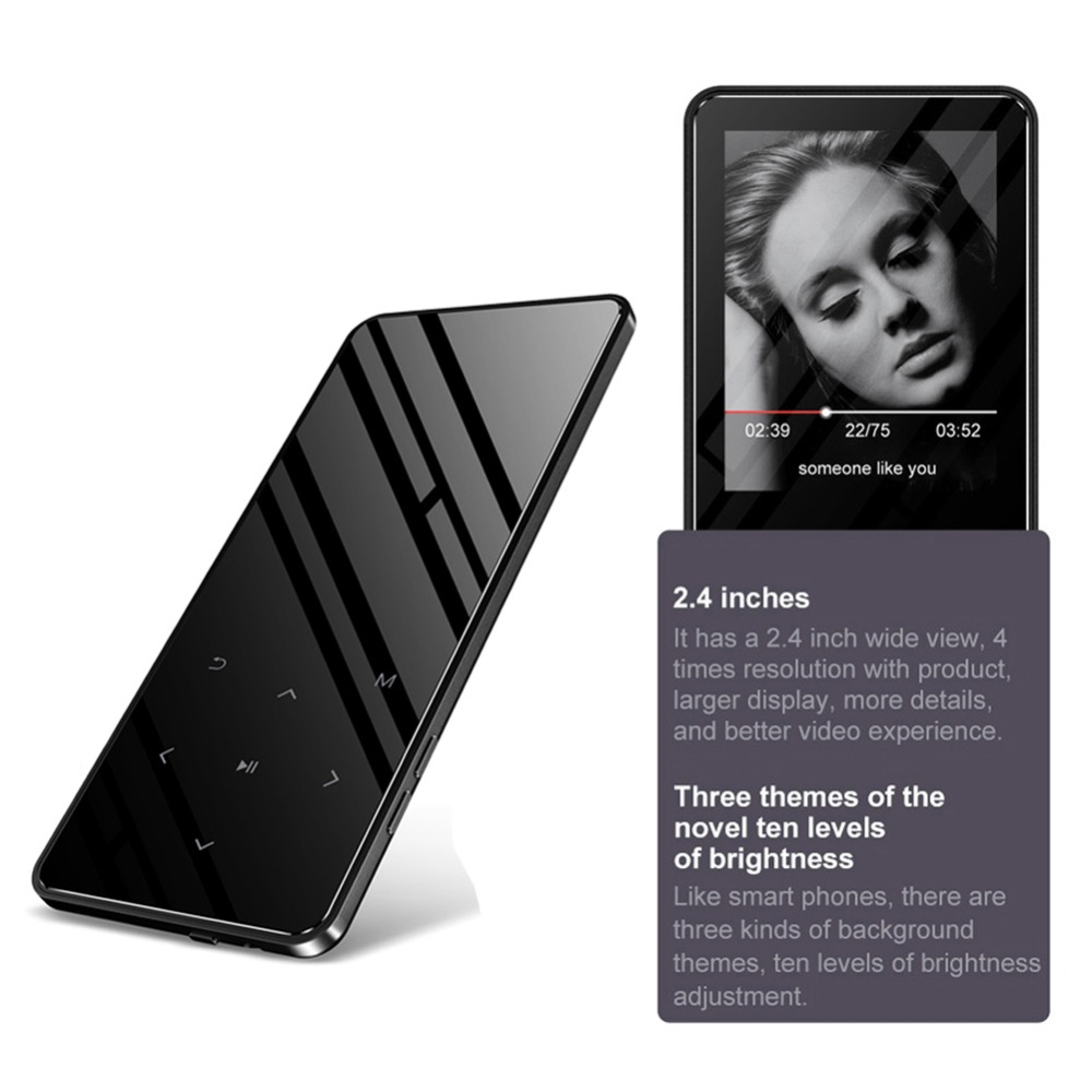 Mp4 Player Mit Bluetooth Lecteur Mp3 Mp4 Musik Player Portable Mp4 Media Dünne 2,4 Zoll Touch Tasten Fm Radio Video Hifi Tragbares Audio & Video