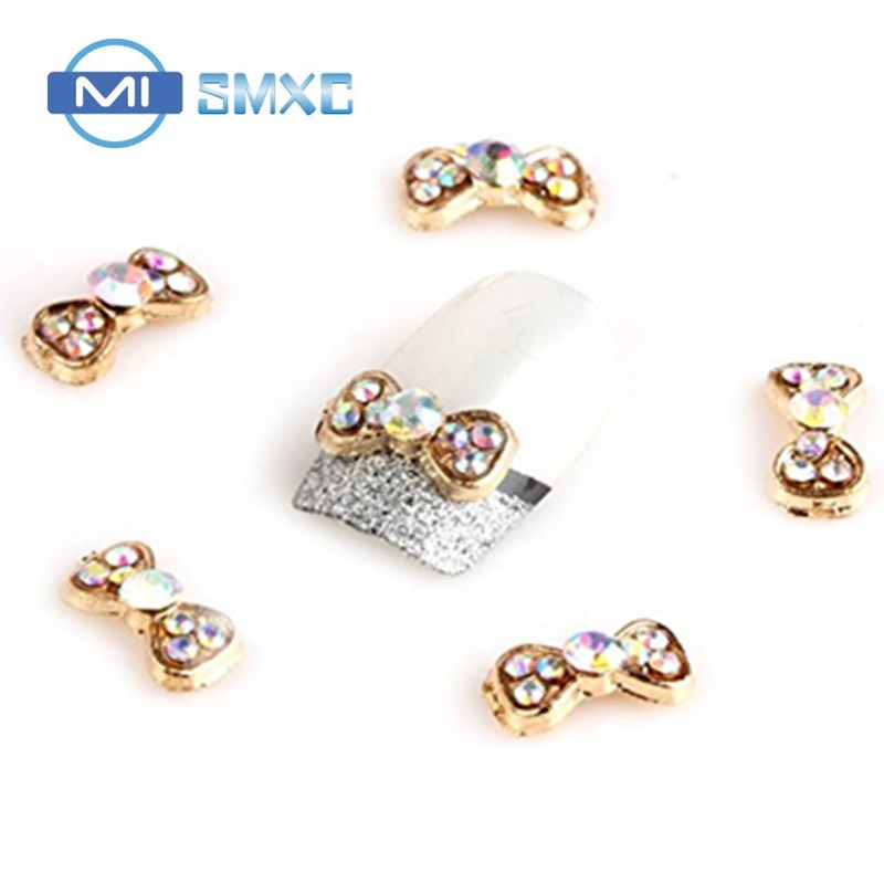 MISMXC Rhinestones Gold Bow Tie 100 pieces Silver 3D Alloy Nail Art Slices Glitters DIY Decorations