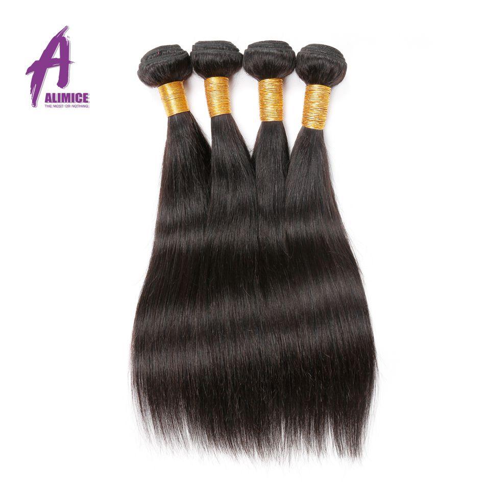 Alimice Hair Prosto Brazylijski Włosy Ludzkie Włosy Wyplata Wiązki - Włosy ludzkie (na czarno) - Zdjęcie 2
