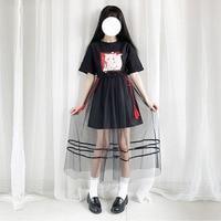 Lolita Girls Short Sleeve Long Shirt Dress Antique Style Fox Printed Women Summer Mesh Black Mesh Dress 2pcs Set