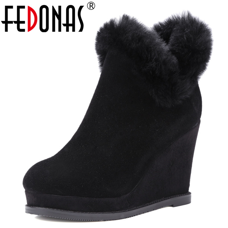 FEDONAS Womens Boots Fashion High Heel Zipper Ankle Boots Ladies Platforms High Heels Winter Shoes Woman Fur Warm Snow BootsFEDONAS Womens Boots Fashion High Heel Zipper Ankle Boots Ladies Platforms High Heels Winter Shoes Woman Fur Warm Snow Boots
