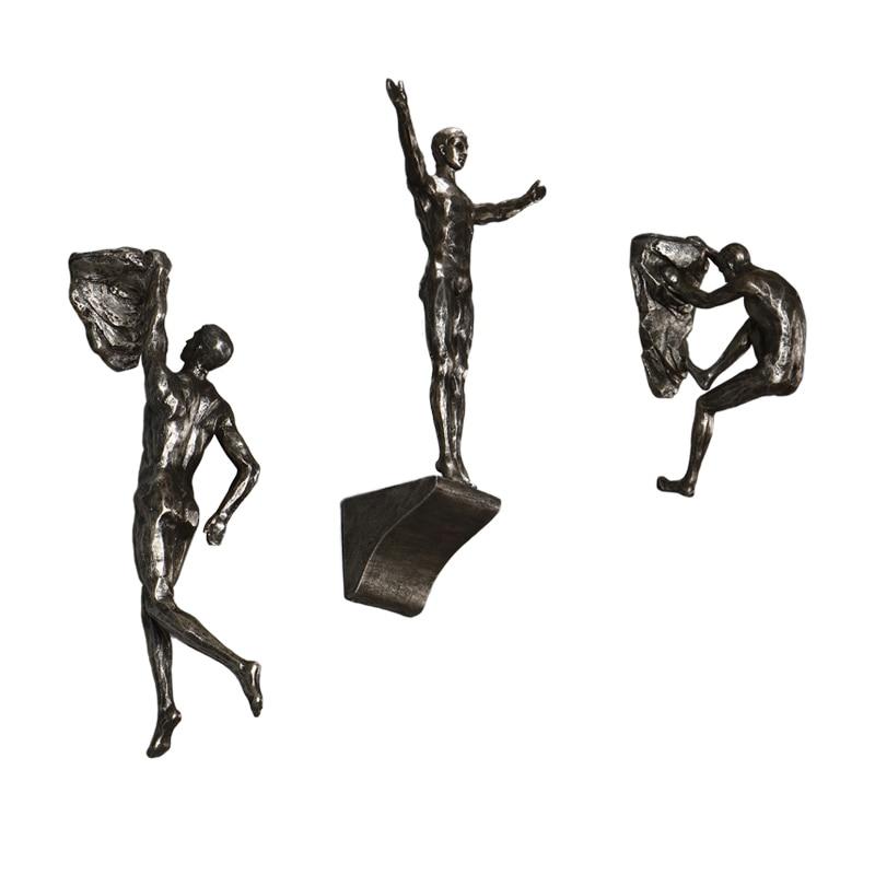 Abstrait grimpeur personnes résine Sculpture décorations murales créatif courageux grimper le pic homme escalade artisanat statue exquis cadeau