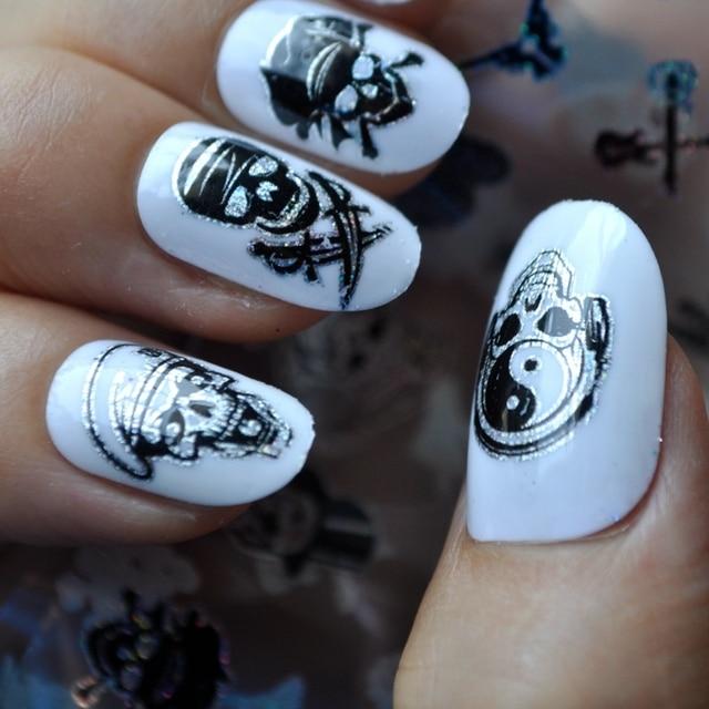 New Nail Art Stickers 3d Laser Foils Punk Skulls Halloween Festival