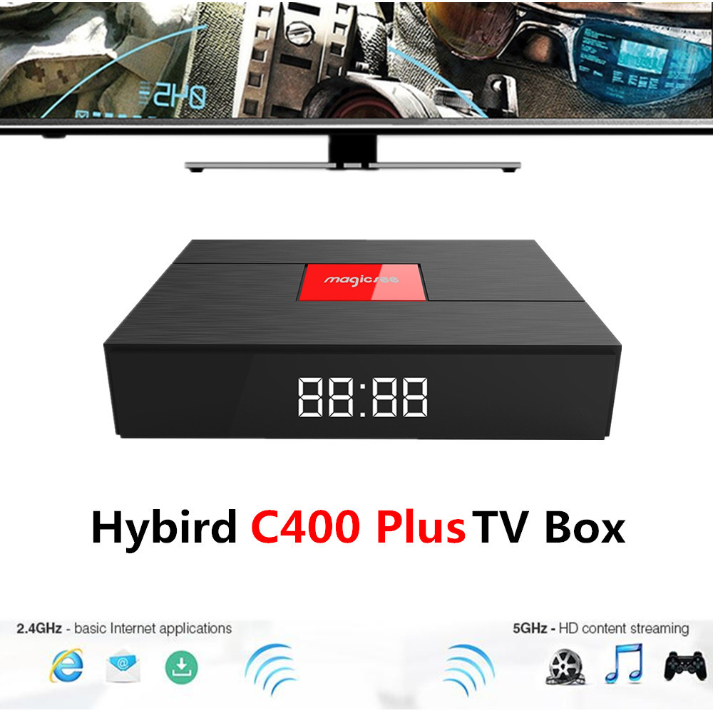 Magicsee C400 Più Smart TV Box Android 7.1.2 Amlogic S912 Hybird S2 + T2 + C TV Box 3 GB 32 GB Dual WiFi 100 Mbps BT4.1 PVR Recording