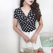 2019 Summer Korean Edition Woman Plus Size Short Sleeve V-neck Polka Dot Print T Shirt Sexy Slim Fit Club T Shirt Dance T-shirt цены