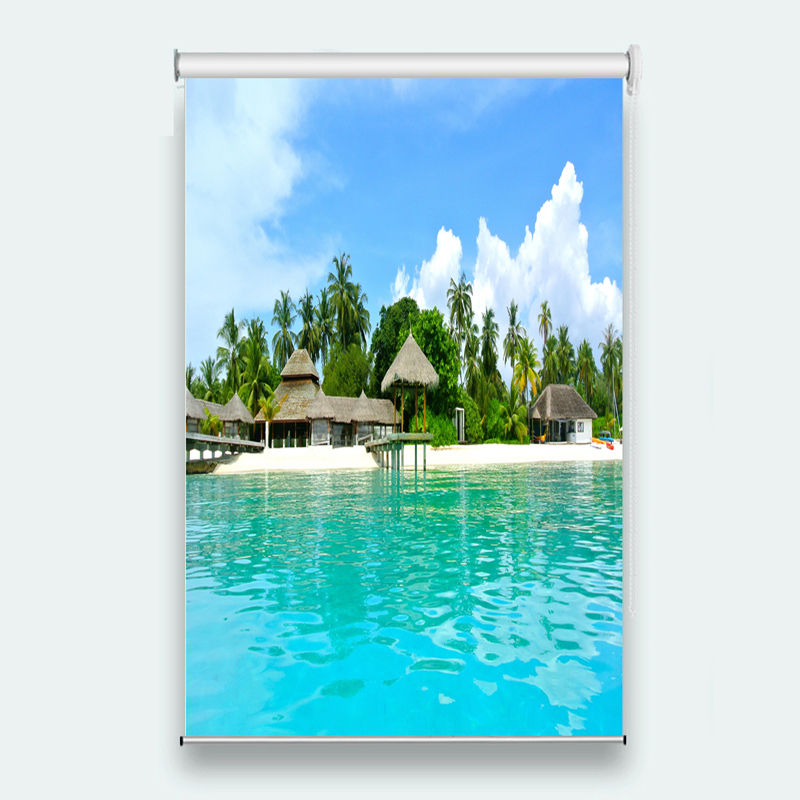 Luxury Blinds villa scenery Photo Window Roller Blinds For Sofa Home Hotel Office Shade Sunnscreen Curtains