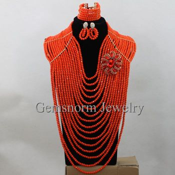 Latest  Coral Color Crystal African Beads Necklace Jewelry Set 16 Layers Full Women Party Jewelry Set Hot Free Shipping WA245