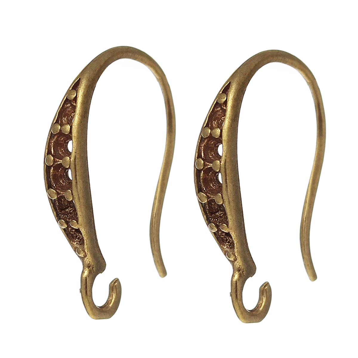 8SEASONS Copper Earring Components Hooks U-shaped Brass Tone (Fits ss6 ss5 ss4 Rhinestone) 17mm( 5/8) x 9mm( 3/8),10 Pairs