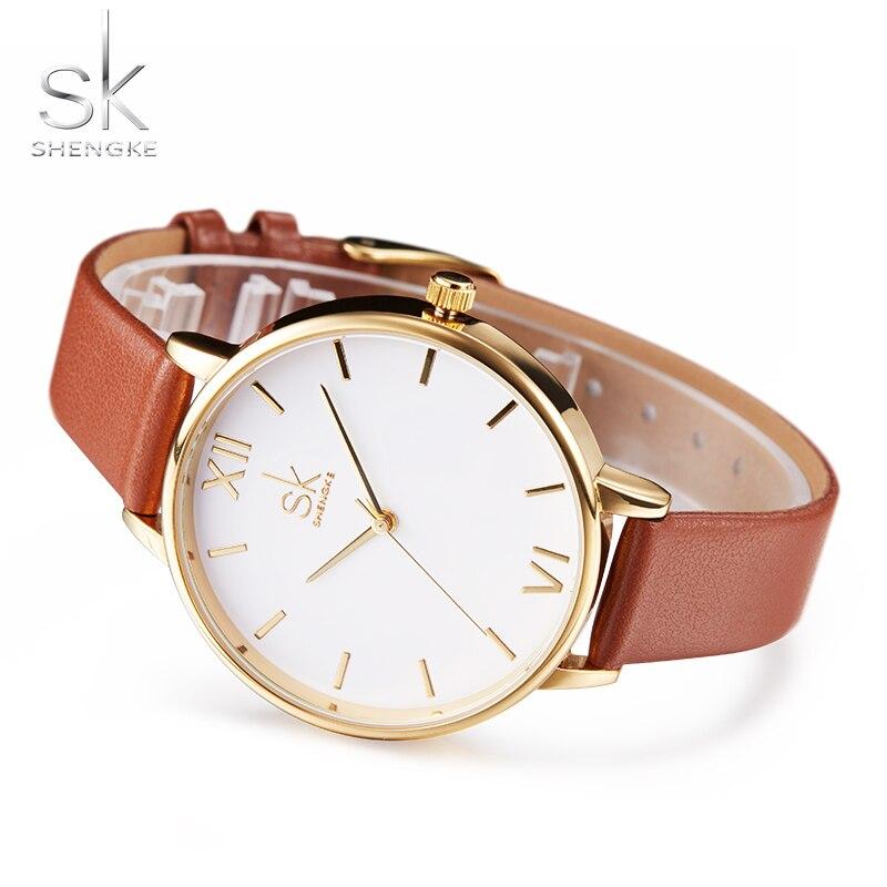 361582a8dd1 Shengke Marca Mulheres Relógios Simples relógio de Pulso de Couro Lady Luxo  Ouro Dial Relógios Mixmatch Relogio feminino de Couro Marrom 2017