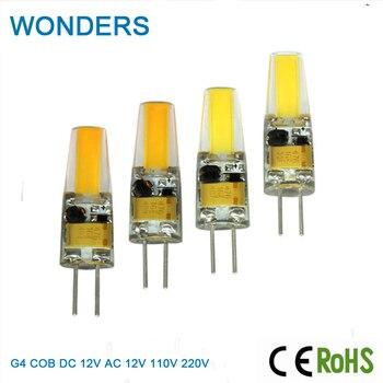 цена на Super bright AC/DC 12V 110V 220V COB Light Real Power 2W/4W/6W G4 COB Lamp Bulb Chandelier Lamps Replace Halogen LED Light