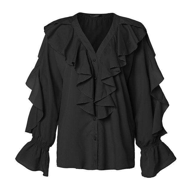 Celmia Stylish Tops Summer Ruffled Blouse Women Sexy V neck Long Sleeve Shirts Female Casual Buttons Street Blusas Plus Size 5XL 25