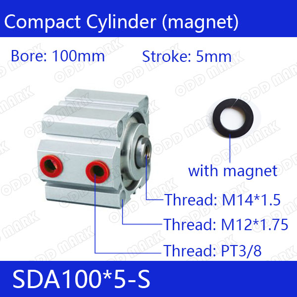 SDA100*5-S Free shipping 100mm Bore 5mm Stroke Compact Air Cylinders SDA100X5-S Dual Action Air Pneumatic Cylinder