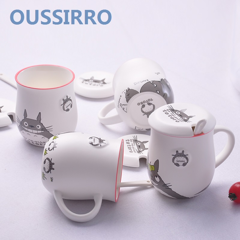 OUSSIRRO 4 Styles Cartoon TOTORO Ceramic Mugs MILK CUP With Cover and Spoon  Candy Color Lovely Water Cups for Children Gift cup with cover milk cup cup with -