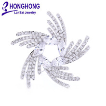 Элегантные женские броши в форме пера со стразами для свадебной вечеринки, женские броши в форме капли, булавки для женщин, ювелирные изделия# WX8011