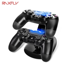 RAXFLY DC Charging Dock for PS4 Double Game Handle Dual Charge Dock Stand for Sony Play Station PS4 Charger Controller