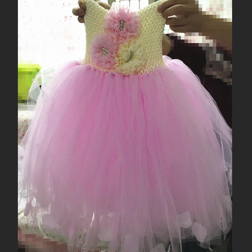 Rose Petals Flower Girl Dresses Pink Girl Princess Dress Children