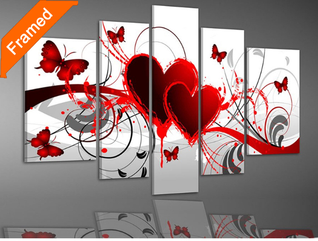 Five piece oil painting modern beautiful heart oil paintings Framed  for wall decoration
