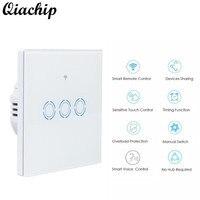 QIACHIP 2017 Smart EU Standard Plug White Wall Waterproof Switch Touch Switch 3 Gang 1 Way
