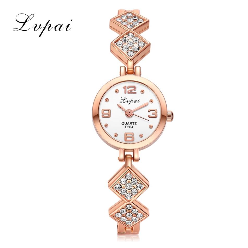 все цены на Lvpai Bracelet Watch For Women Ladies Rhombus Pendant Watches Rhinestone Quartz Fashion Casual Bracelet Bangle Wrist Watches