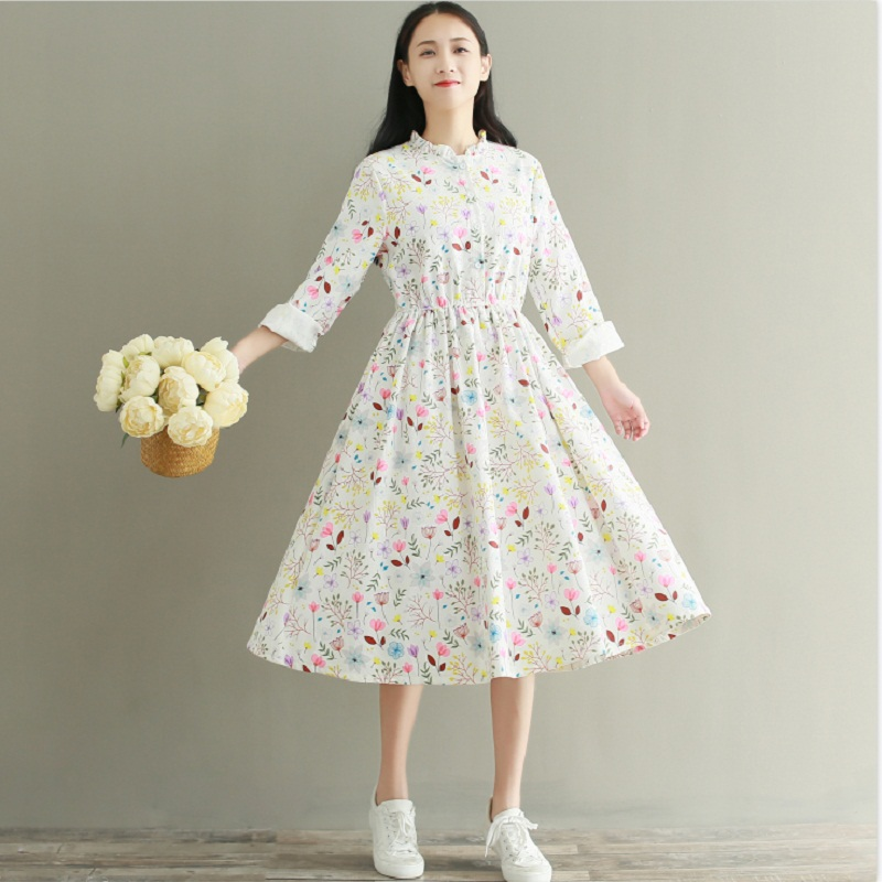21bc12ea10 Sweet Spring Autumn Women Elegant Dress Stand Collar Floral Print Casual  Female Vestidos Full Sleeve Corduroy Maxi Long Dresses-in Dresses from  Women s ...