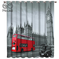 COCOHouse London Bus Bell Tower Window Treatments Curtains Valance Living Room Bedroom Curtains Outdoor Indoor Decor Curtain|Curtains|Home & Garden -