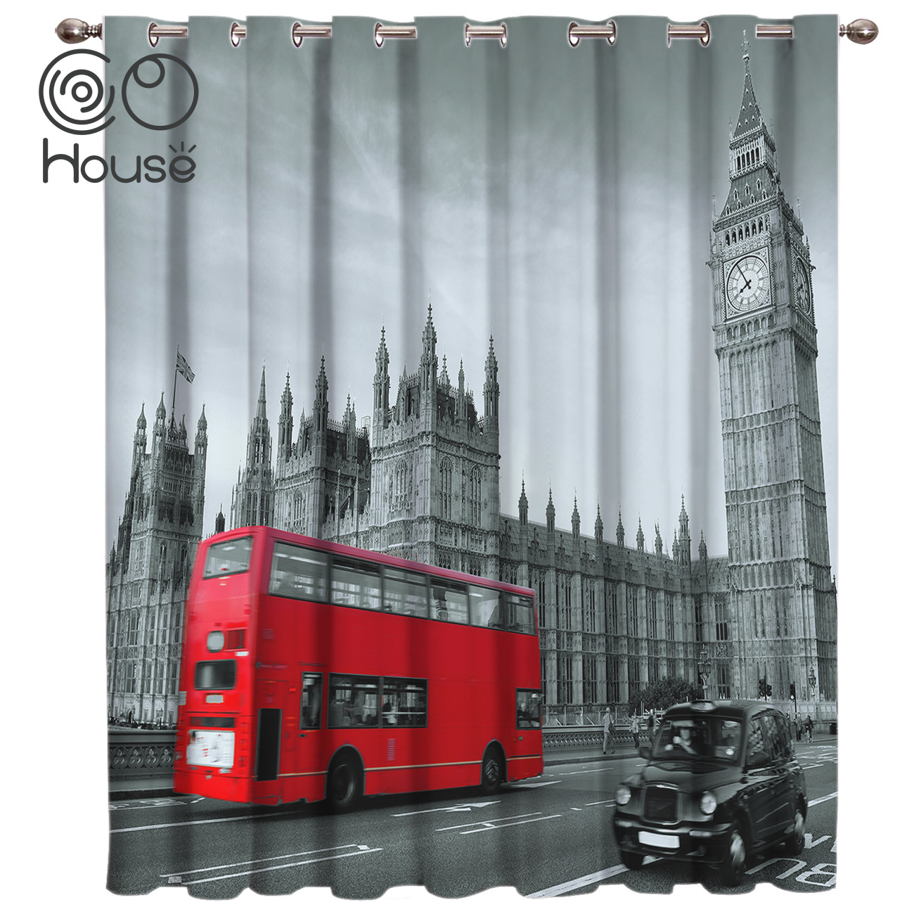 COCOHouse London Bus Bell Tower Window Treatments Curtains Valance Living Room Blackout Curtains Outdoor Indoor Decor Curtain