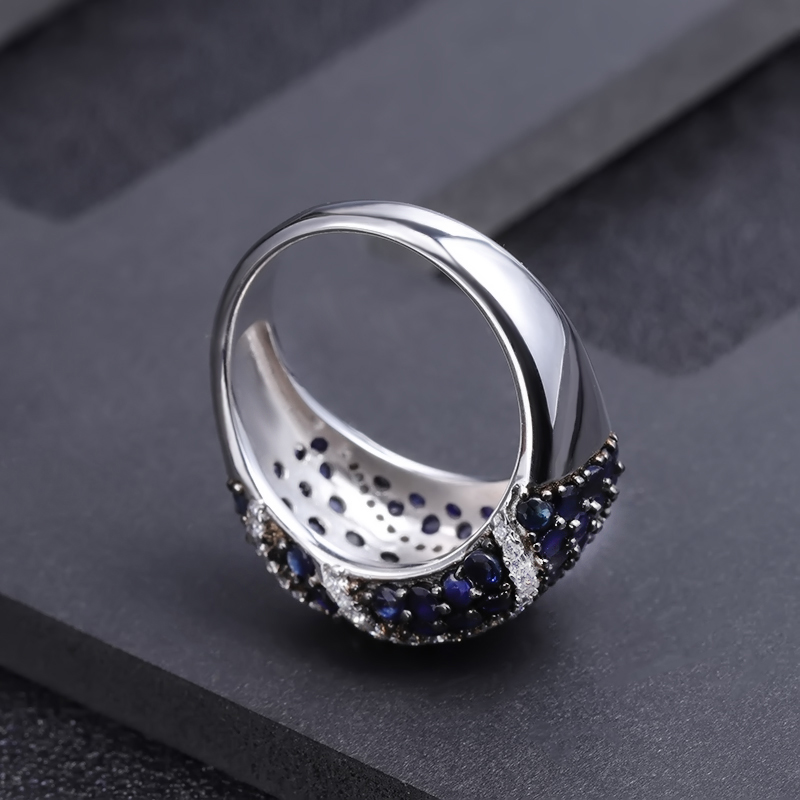 Gem's Ballet Natural Diffusion Sapphire Gemstone Rings Fine Jewelry 925 Sterling Silver Rings For Women With Box