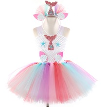 New Girls Mermaid Costumes With Flower Headband Set for Girl Flowers Tutu Dress Kids Birthday Theme Party Vestiso