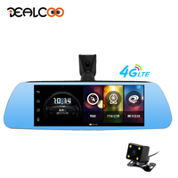 Dealcoo Car DVR Dash Cam Mirror Video Recorder Camera 3 in 1 Radar Detector 4G Android Dual lens 1080P FHD Rear View Camera GPS