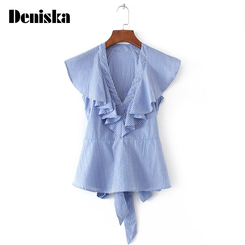 DENISKA Summer Women Fashion Striped Ruffles font b Blouses b font Butterfly Sleeve Back Bow Tie