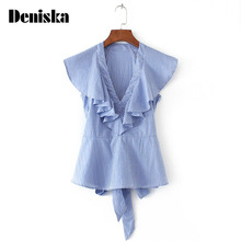 DENISKA Sommar Kvinnor Fashion Striped Ruffles Blusar Butterfly Sleeve Back Bow Tie 2017 Kvinna Casual Blusas Cool Toppar