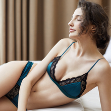 Shaonvmeiwu new Ladies lace underwear bra set female triangle cup red thin section without steel ring