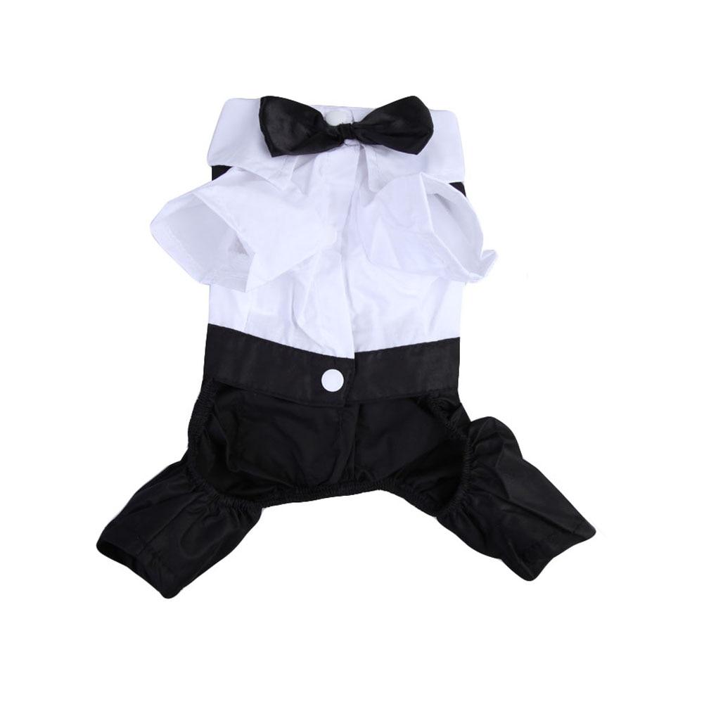 New Arrival Cute Gentleman Decorate Jumpsuits For Pet Dog Cat Gentleman Suit Clothes Jumpsuit Bow Tie Tuxedo T-Shirt Costume BS