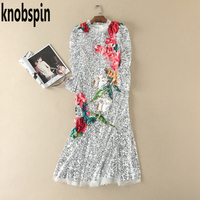 Knobspin Brand Runway Dress 2017 Women S Shinning Sequins Dresses Vestidos Casual Slim Long Tunics Robe