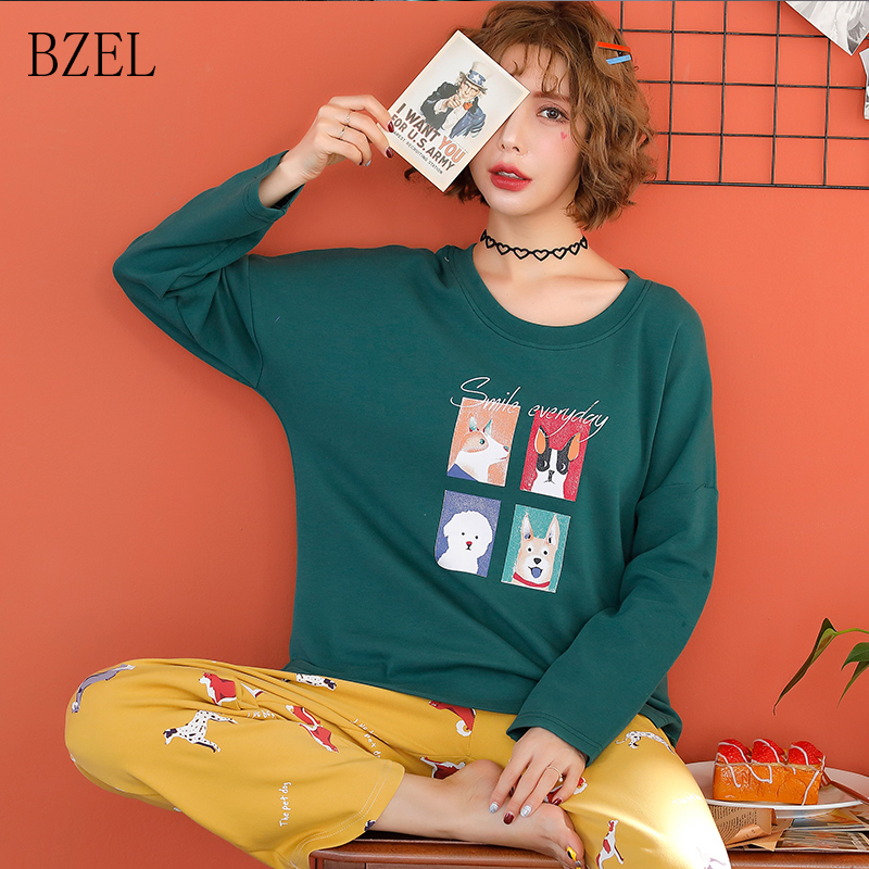 BZEL 2019 New Spring Cotton Girl Cartoon Pajamas Sets Long Sleeved Casual Pyjamas Women