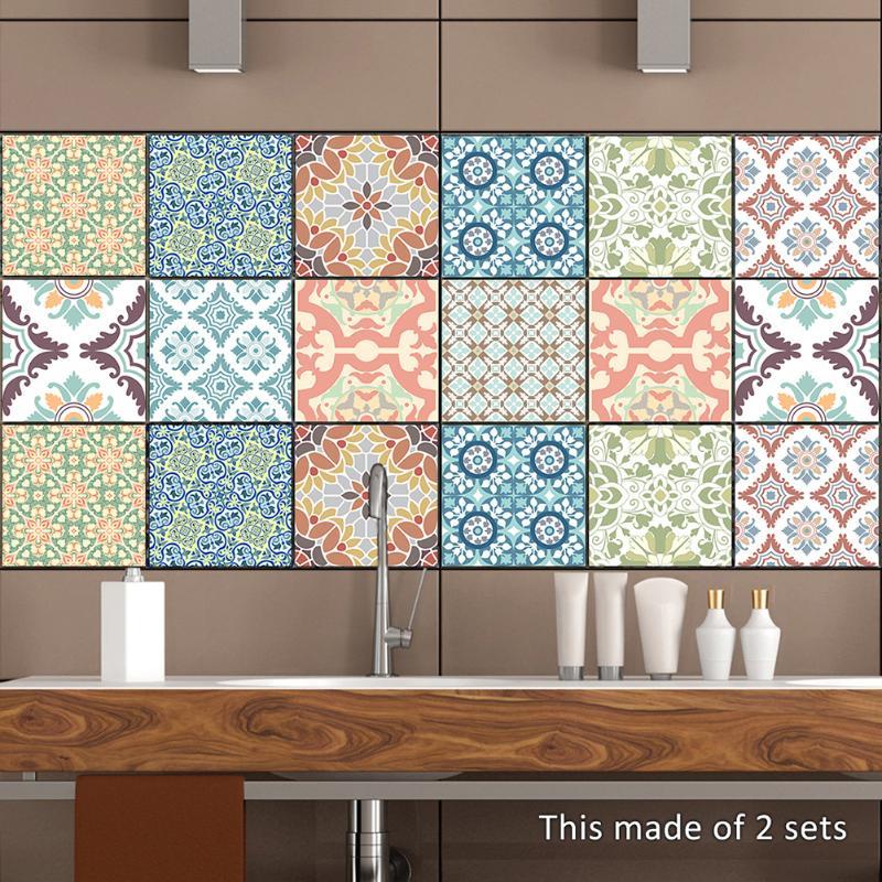 10 pcs Rétro Lavable Stickers Carrelage Coloré Salle De Bains Cuisine Stickers Muraux Antibactérien Anti-moisissure Décoration de La Maison 20x20 cm