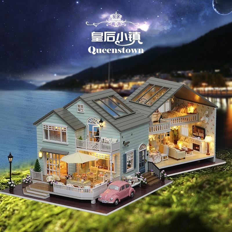 New Zealand Queens Town DIY Wooden Dollhouse Handmade Miniatura Furniture Building Model Building Kits Big House Creative Doll