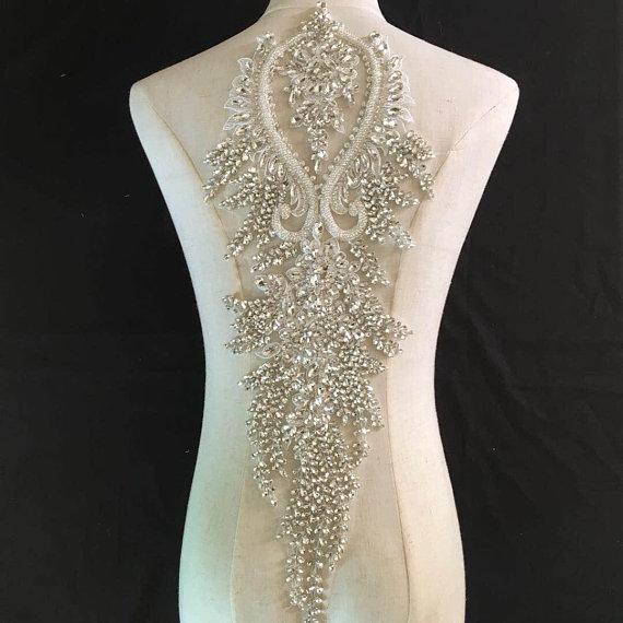 Crystal Bodice Wedding Gown: Big Crystal Bodice Applique For Wedding Dress, Large