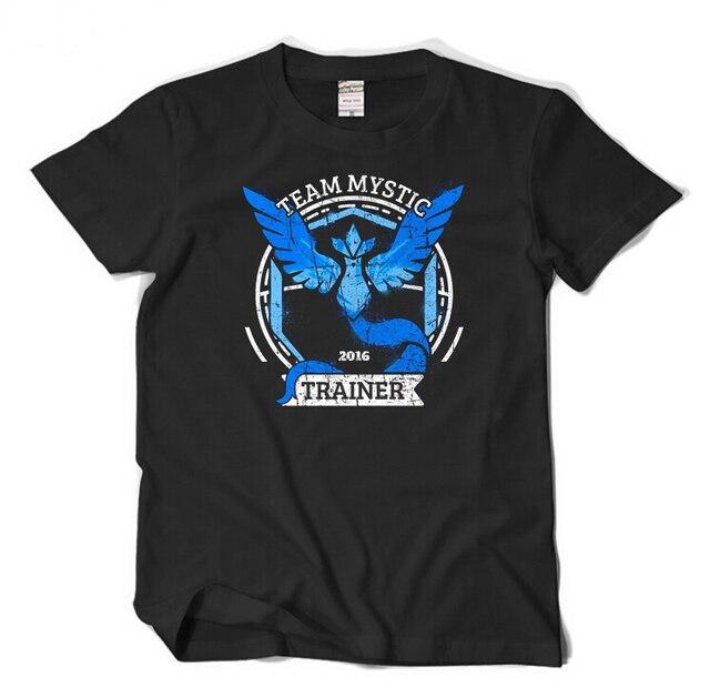 1b01c45e09 Pokemon Pokeball Go Team Místico Instinto Masculino Famale DarkBlue Preto  T-shirt do Verão camiseta