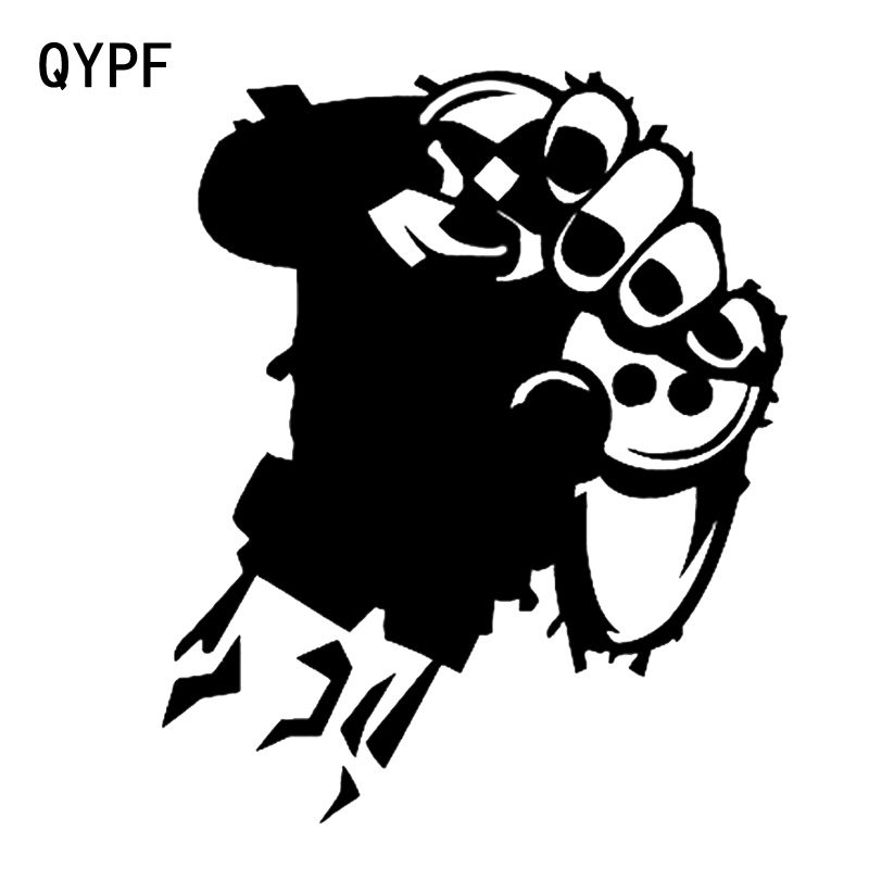 QYPF 14.3*17.2CM Interesting Hands And Game Machine Graphic Vinyl Car Sticker High Quality Decoration Black/Silver C16-0314
