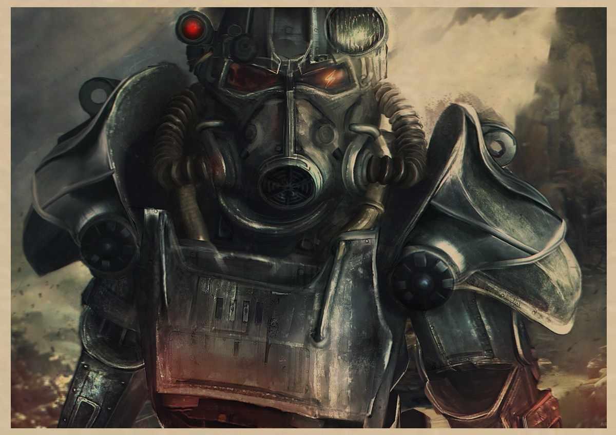 Fallout 3 4 เกมโปสเตอร์ Fallout เกมย้อนยุคโปสเตอร์ย้อนยุคกระดาษคราฟท์บาร์คาเฟ่ภาพวาดตกแต่งบ้านสติ๊กเกอร์ติดผนัง z5